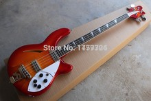 Best Price Wholesale High Quality Rick Semi Hollow Ricken Cherry Red Burst R Tremolo 4 Strings jazz Electric Bass Guitar 1112