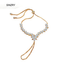 SINZRY jewelry Clear white cubic zirconia oval charm adjustable charm bracelets middle east hot CZ flexible bracelet with chain
