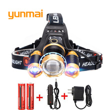 Led Headlight 8000Lm Rechargeable Headlamp Flashlight Head Torch Linterna Xml T6+2Q5 Use 18650 Battery Car Charger Fishing Light(China)