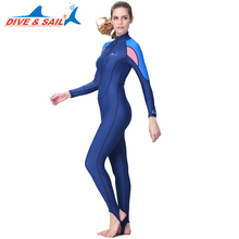 DIVE&SAIL Offical Store one piece Women with chest pad UV Protection Lycra Rash Guard Surf Swimwear Long sleeves diving suits