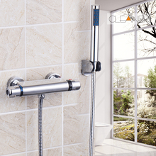 Bathroom Thermostatic Rainfall Shower Head Bathtub Shower Water Tap Shower Set Faucet Mixer Tap Round Head