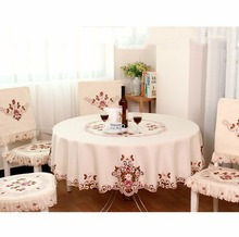 Newcomdigi 1 Piece Elegant Round Table Cloth/ Exquisite Embroidery Fabric Art Tablecloth/ Modern Rural Style Round Tablecloth(China)