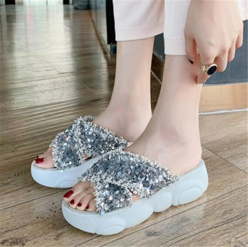 PXELENA Shiny Bling Sequined Women Slides Outdoor Beach Summer Slippers Bear Sole Thick Platform Flat Casual Comfort Shoes 34-43