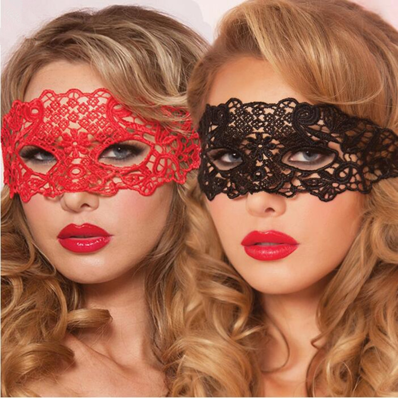 Women Lace Black Red Sexy Eye Mask Accessories Exotic Apparel Hollow Nightclub Party Queen Masks(China)