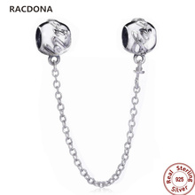 2017 New Retro Authentic 925 Sterling Silver Letter Stamp Charm Chain Fit European Pandora Bead Bracelet & Bangle DIY Jewelery(China)