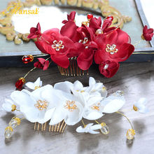 White and Burgundy Fabric Hair Flower Handmade Hairband Crystal Beads Hair CombS Girl Hairwear Crystal Flower Gold Plate SG253