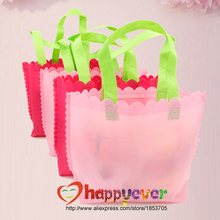 6PCS Pink Non-woven Reusable Kids Girl Carrying Shopping Grocery Goodie Bag for Party Favor Birthday Wedding Treat Bag(China)
