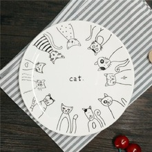 Dinner Plates Cartoon Cat Ceramic Plates 8*inch Dinnerware Porcelain Flat Plates Pastry Cake Tray Party Plate Dishes Fruit Dish