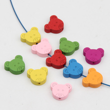Wooden Beads 100pcs 17*16mm Bear Head Spacer Beading Wood Beads for Jewelry Making DIY Baby Bracelet Necklace(China)