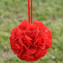 Free shipping, 20cm/8'' Hot sale Red Silk Rose Kissing Ball Flower Pomander Bouquet Flower Ball Wedding Party Supplys HQ18