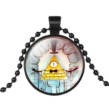 Maxi Choker Chain Necklace Drama Gravity Falls Mysteries BILL CIPHER WHEEL Glass Pendant Necklace Doctor Who Women Men Jewelry(China)