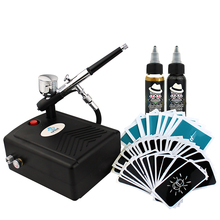 OPHIR Airbrush Kit with Air Compressor for Body Paint/Temporary Tattoo 20x Airbrush Stencils Finalized Ink 30ml Acrylic Paints