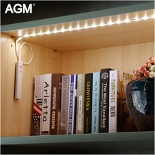 AGM LED Motion Sensor Night Light Flashlight Strip Stair Under Cabinet Closet Bed Waterproof Lights Flexible Lighting Warm White(China)