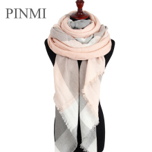 PINMI Good Quality Winter Scarf Women 2017 Soft Cashmere Warm Pashmina Scarf Large Triangular Wool Shawls Plaid Blanket Wraps(China)