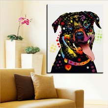Large size Print Oil Painting Wall painting happy rottweiler Home Decorative Wall Art Picture For Living Room paintng No Frame(China)
