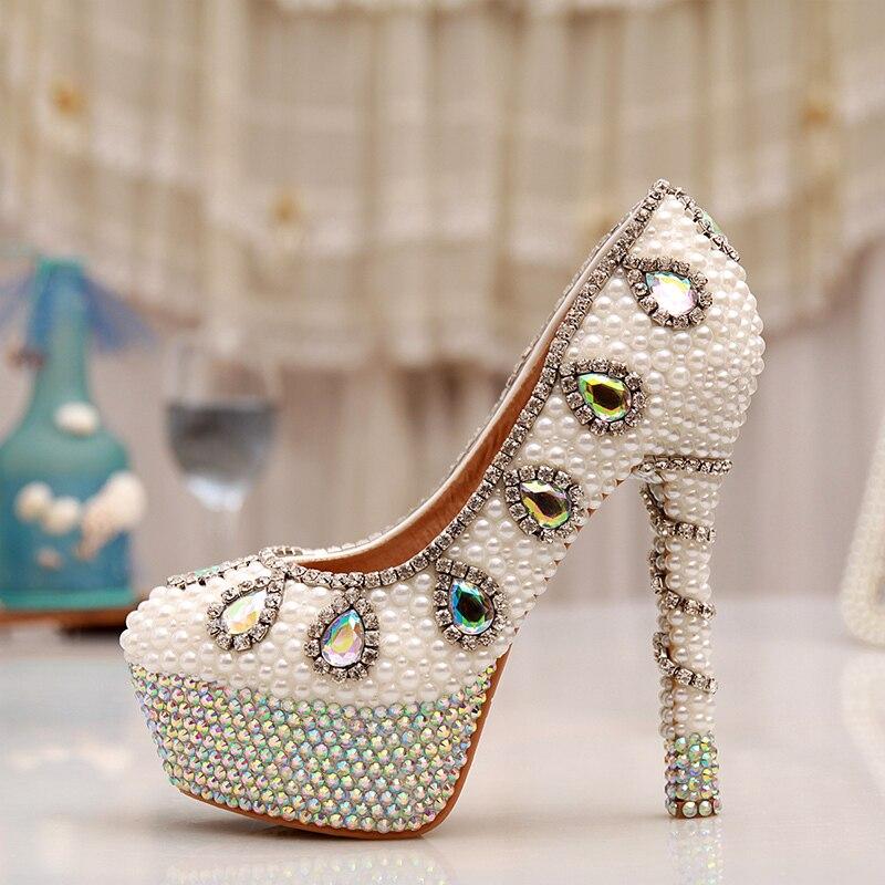14cm High Heel Rhinestone Platform Bridal Dress White Pearl Wedding Dress Shoes AB Crystal Heel Pumps Party Prom Shoes<br><br>Aliexpress