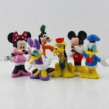 6pcs/lot cartoon Mickey figures toy doll Mouse Donald Duck goofy dog pluto dog daisy Minnie figure toys for kids gifts