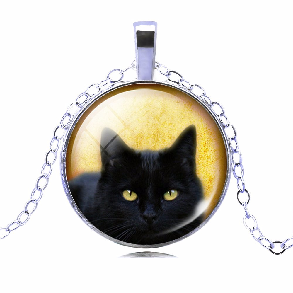 UNIQUE NECKLACE GLASS CABOCHON-SILVER BRONZE CHAIN NECKLACE BLACK CAT PICTURE VINTAGE PENDANT NECKLACE-Cat Jewelry-Free Shipping UNIQUE NECKLACE GLASS CABOCHON-SILVER BRONZE CHAIN NECKLACE BLACK CAT PICTURE VINTAGE PENDANT NECKLACE-Cat Jewelry-Free Shipping HTB1D8OKMpXXXXXWaXXXq6xXFXXXX