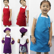 Cute Children Kids Plain Aprons Boys Girls Kitchen Cooking Baking Painting Art Bib Aprons Household Cleaning Tools(China)