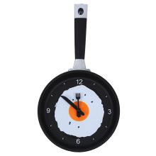Frying Pan Clock with Fried Egg - Novelty Hanging Kitchen Cafe Wall Clock Kitchen - Green