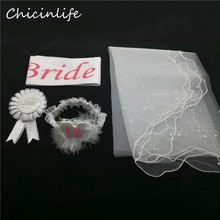 Chicinife 4pcs/lot Bride to be Sash Garter Veil Badge Bachelorette Hen Party Decoration Bride Supplies Wedding Decoration Gift(China)