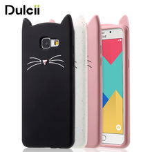 DULCII for Samsung Galaxy A5 (2016) Phone Cases Cute 3D Mustache Cat Soft Silicone Mobile Casing for Samsung A5 2016 Cover Coque