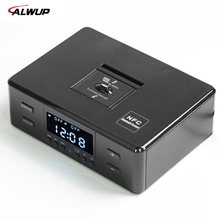 ALWUP NFC Bluetooth Stereo Speaker Smart Charger Dock Station with FM Radio Dual Alarm Clock Remote Control LCD Screen for Phone