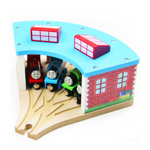 P116 Wooden small train garage station room Thomas train wood track bridge, Thomas wood track scenes necessary accessories