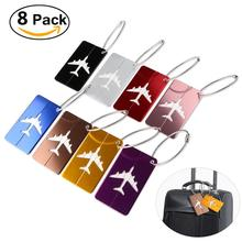 8pcs Aluminum Air Plane Pattern Luggage Tag Baggage Handbag ID Tag Name Card Holder with Key Ring