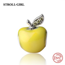 100% 925 Sterling Silver Yellow Enamel Apple Charm Beads Fit Authentic pandora Bracelet Pendant Original DIY Jewelry making Gift(China)