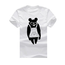 1050408 T-shirt, cat, owls, animal and language White cool casual funny Cotton Cartoon Short Sleeve Bear glasses aprons men t sh