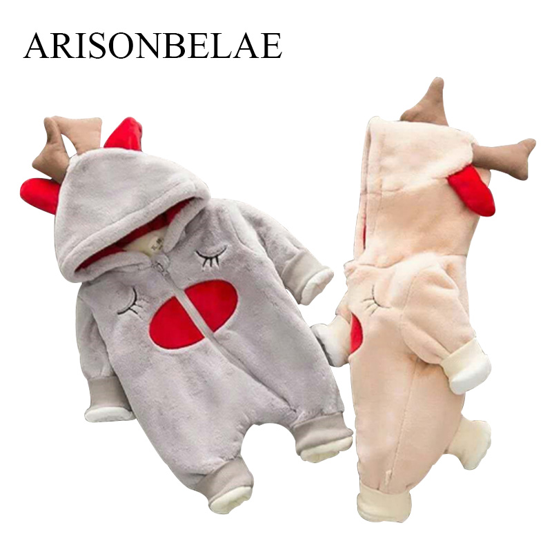 ARISONBELAE Brand Baby Rompers Winter Thick Climbing Clothes Christmas Deer Warm Hooded Jumpsuit Newborn New Years Costumes<br>