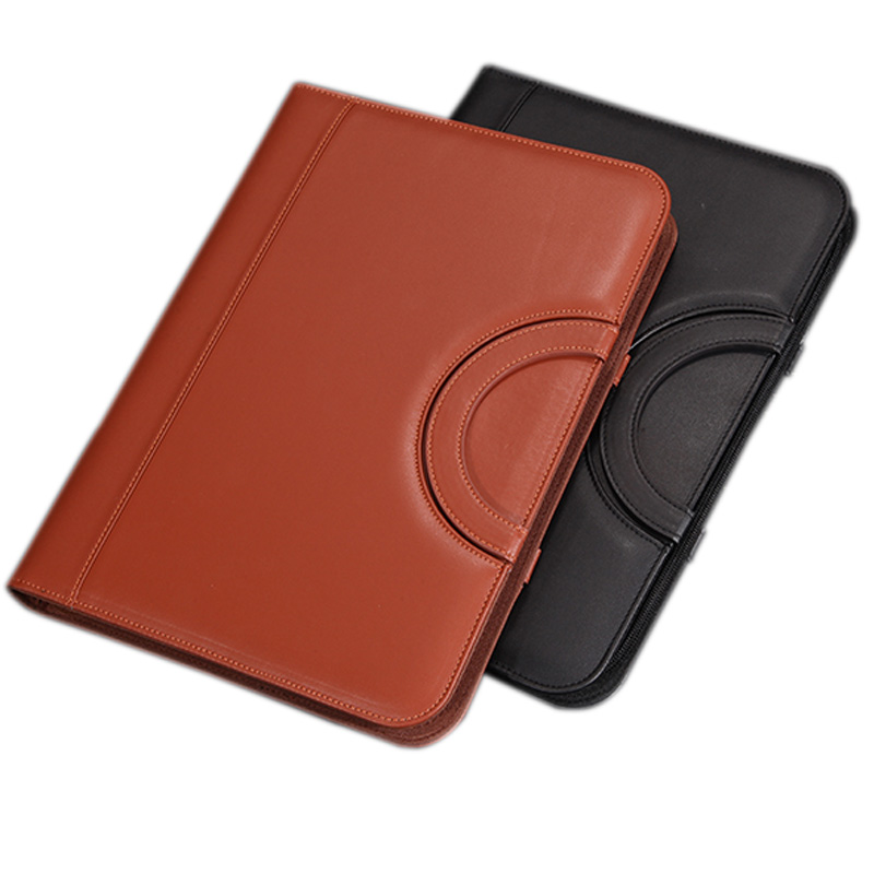 Professional Business Zipper Portfolio, PU Leather Padfolio Folder with Handle  Gifts. <br>
