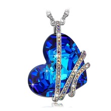 Buy Romantic Blue Heart Pendant Necklace Silver Plated Crystal Heart Charm Necklace Jewelry Woman for $2.71 in AliExpress store