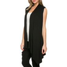Women Summer  Jacket Soft Sleeveless Outerwear Cardigan Long Top Coat Waistcoat Hot Selling
