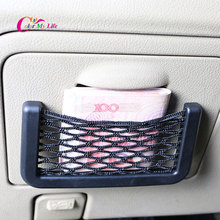 1 Piece ABS & Nylon Black Car Carrying Bag Phone Holder Net Cards Sticker Case for Kia Rio K2 K3 K5 Sportage R Soul QL Stickers