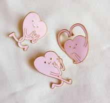 Free Shipping Cartoon Cute Pink Heart Metal Enamel Brooch Pin Badge Fashion Jewelry For Women wholesale(China)