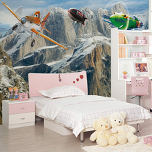 Lovely large murals TV backdrop bedroom theme children's room cartoon 3D wallpaper boy airplanes Story(China)