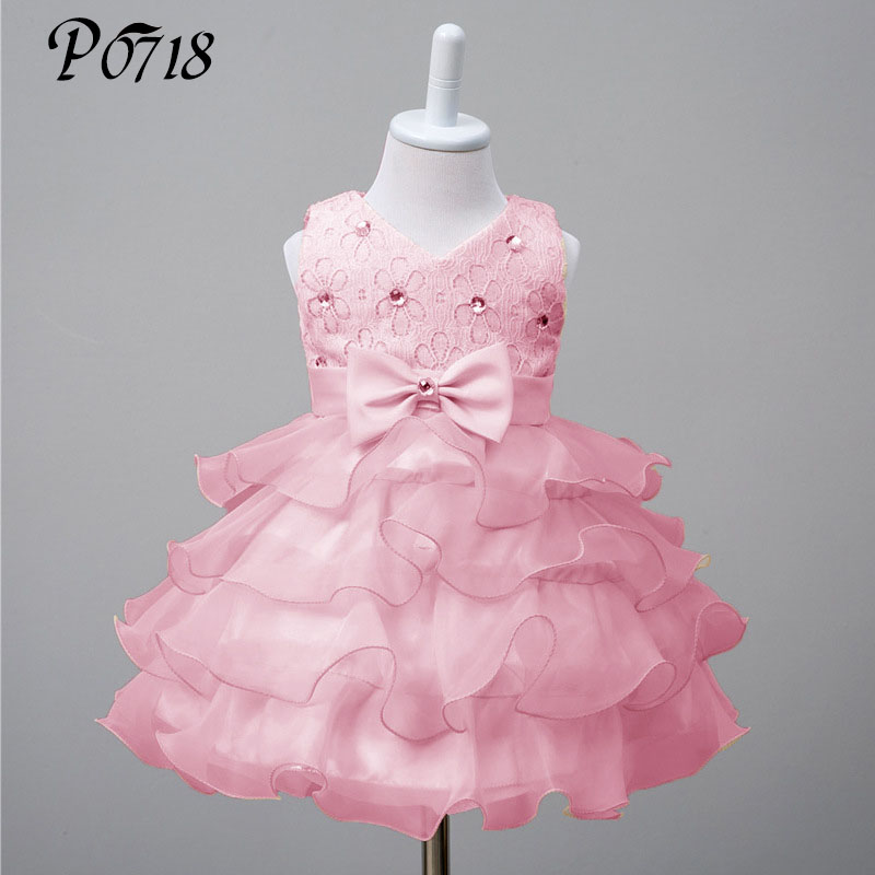 Baby Toddler Flower Girl Lace Dress 2017 Summer Newborn Girls Baptism 1 Year Birthday Party Dresses Children Wedding Clothing(China)