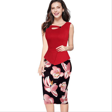 Top selling brand new work dress office half part peplum dress super deal women elegant formal dress