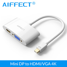 AIFFECT Thunderbolt DP to HDMI VGA Adapter Cable 2 In 1 4K 3D Mini Display Port Converter For iMac Apple MacBook Pro Air(China)