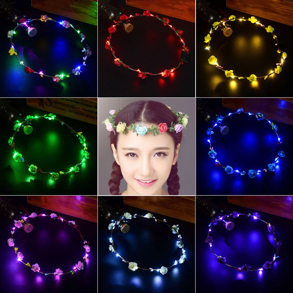 Long Light And Shiny Led Flower Floral Hairband Garland Crown Glowing Wreath Vines Headband #6 Sales Of Quality Assurance Weddings & Events Wedding Accessories