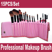 Free Shipping 15PCS Professional Makeup Brush Tools Cosmetic Brush Set Eyebrow Comb with Roll up Snake Pattern Bag