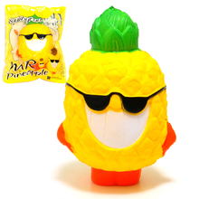 "5.9"" Cool Jumbo Pineapple Squishy Soft Doll Squeeze Toy Collectibles Cartoon Phone Strap Fruit Scented Super Slow Rising(China)"
