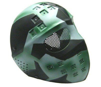Airsoft Hockey Eye Mesh Hard Plastic Full Face Cover Mask Green Mixed Color<br>