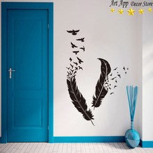 Good quality house decor new Art Design feather and birds Vinyl Wall decals removable room decoration animal cheap sticker(China)