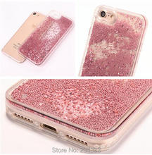 Diamond Bling Liquid Bead Quicksand Glitter Hard PC TPU Case For Iphone 7 Plus I7 7PLUS 6 6S I6S Dynamic Cover Skin Fashion 1pcs