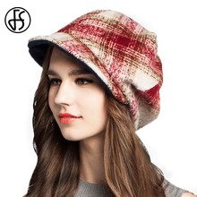 FS Elegant Women Winter Wine Red Black Blue Plaid Octagonal Cap For Women Ladies Wool Wide Brim Painter Hats