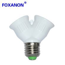 Foxanon Brand Fireproof Material E27 to 2 E27 Holder Light Lamp Bulb Adapter Converte 2E27 Lamp Holder Converter Bulb lighting