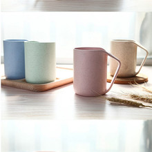 2016 Green Wheat Straw Cup Coffee Drink Simple Fashion Mug Creative Cups Toothbrush Cup Brush Cup with handle coffee drink milk